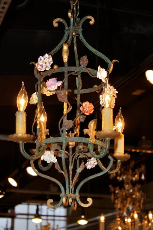 French Iron and Tole Leaf Lantern with Porcelain Flowers 3