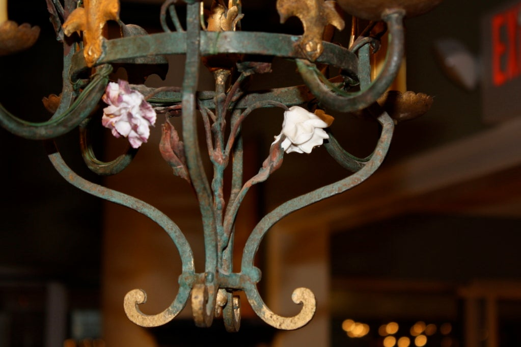 French Iron and Tole Leaf Lantern with Porcelain Flowers In Good Condition For Sale In Pembroke, MA