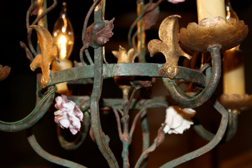 20th Century French Iron and Tole Leaf Lantern with Porcelain Flowers For Sale