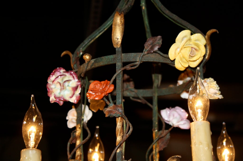 French Iron and Tole Leaf Lantern with Porcelain Flowers 7