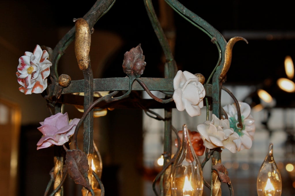 French Iron and Tole Leaf Lantern with Porcelain Flowers For Sale 2