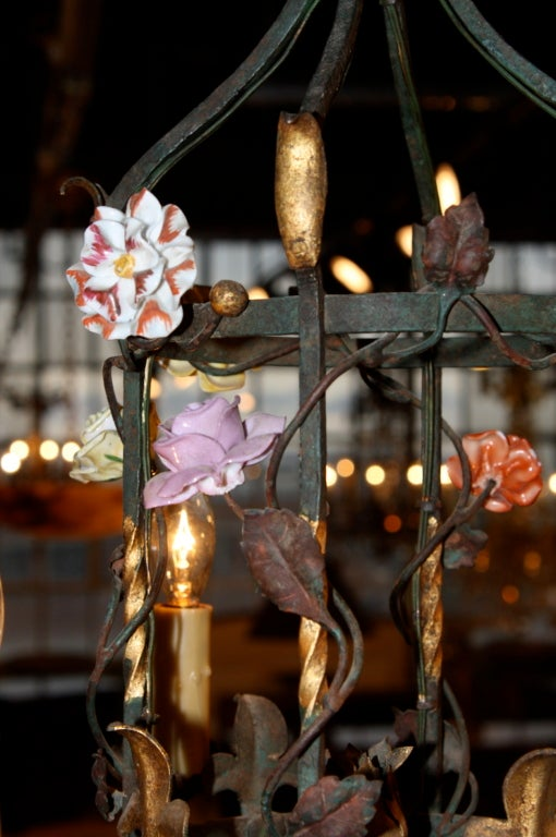 French Iron and Tole Leaf Lantern with Porcelain Flowers For Sale 3