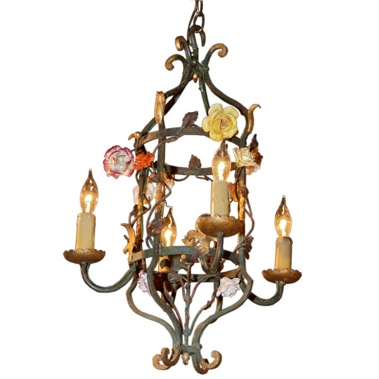 French Iron and Tole Leaf Lantern with Porcelain Flowers For Sale