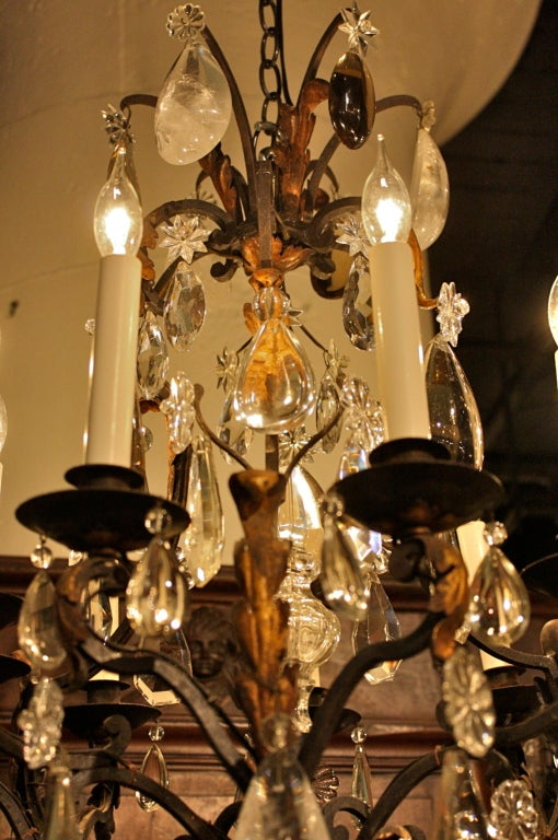 French Wrought Iron and Rock Crystal Chandelier For Sale 7