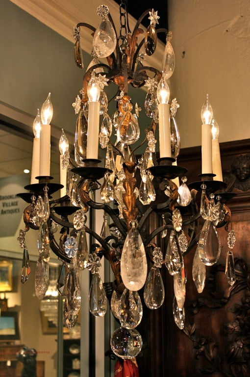 19th Century French Wrought Iron and Rock Crystal Chandelier For Sale