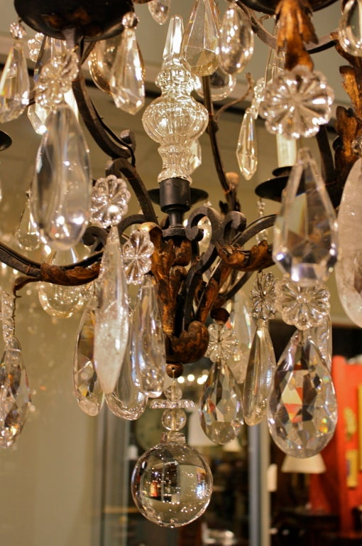 French Wrought Iron and Rock Crystal Chandelier For Sale 1