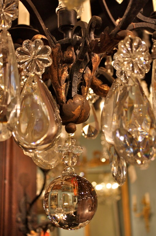 French Wrought Iron and Rock Crystal Chandelier For Sale 2