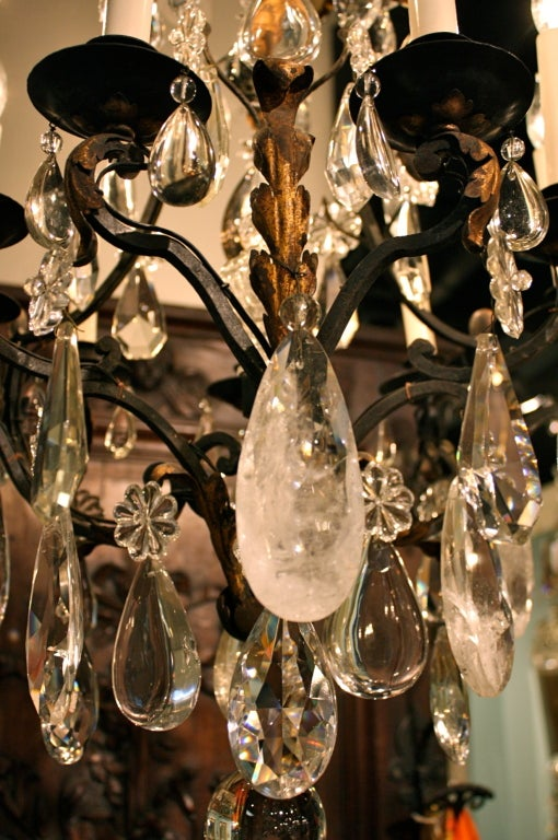 French Wrought Iron and Rock Crystal Chandelier For Sale 3