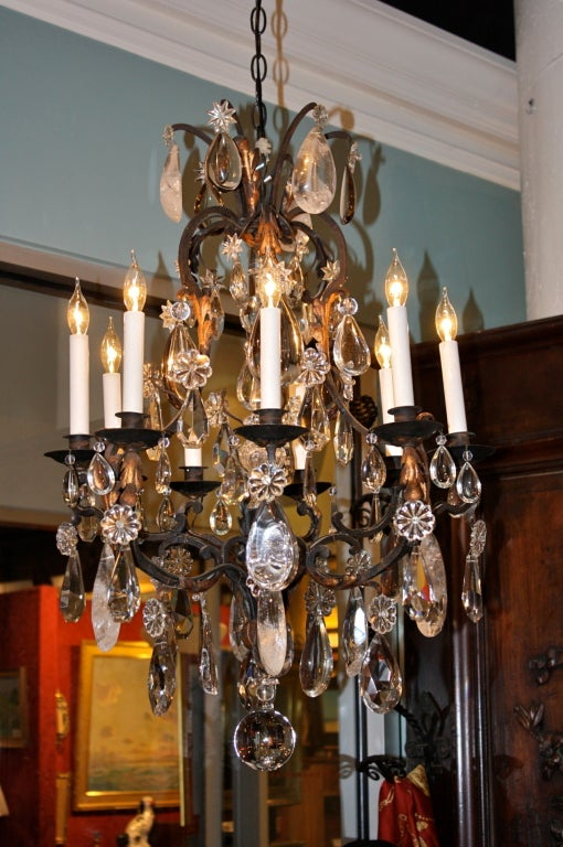 French Wrought Iron and Rock Crystal Chandelier For Sale 5