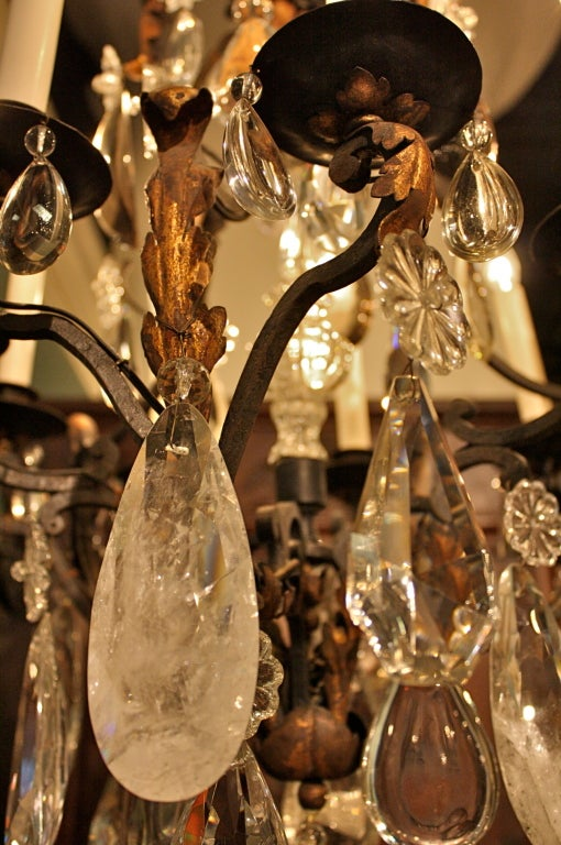 French Wrought Iron and Rock Crystal Chandelier For Sale 6