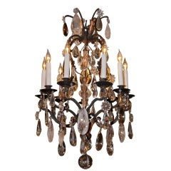 French Wrought Iron and Rock Crystal Chandelier