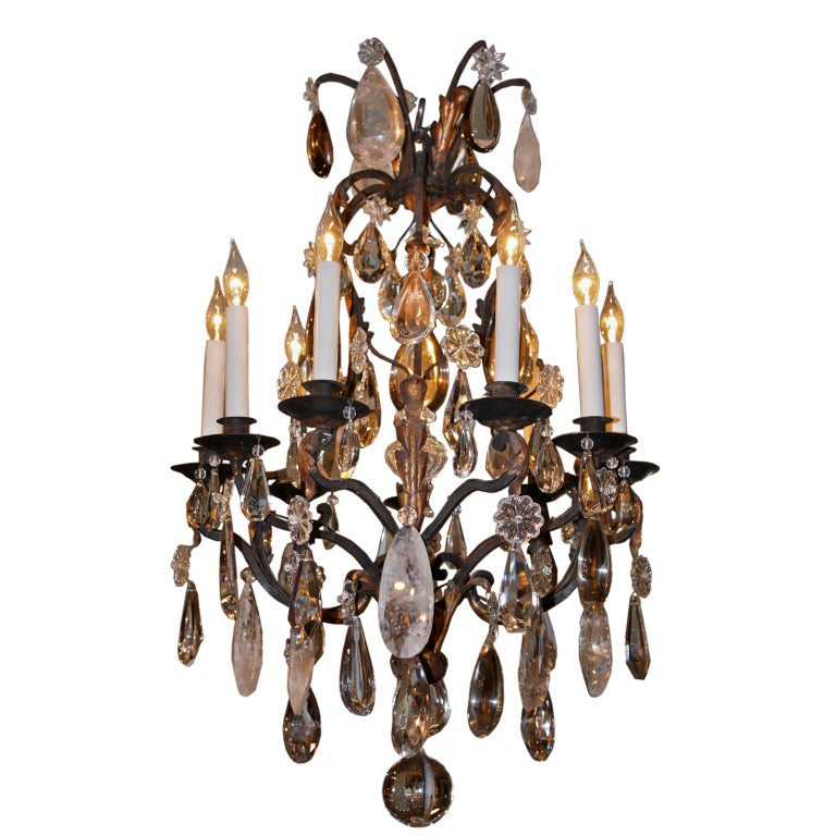 French Wrought Iron and Rock Crystal Chandelier For Sale