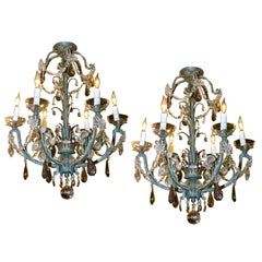 Pair of Beaded Palmette Form Chandeliers, Attr. Maison Bagues