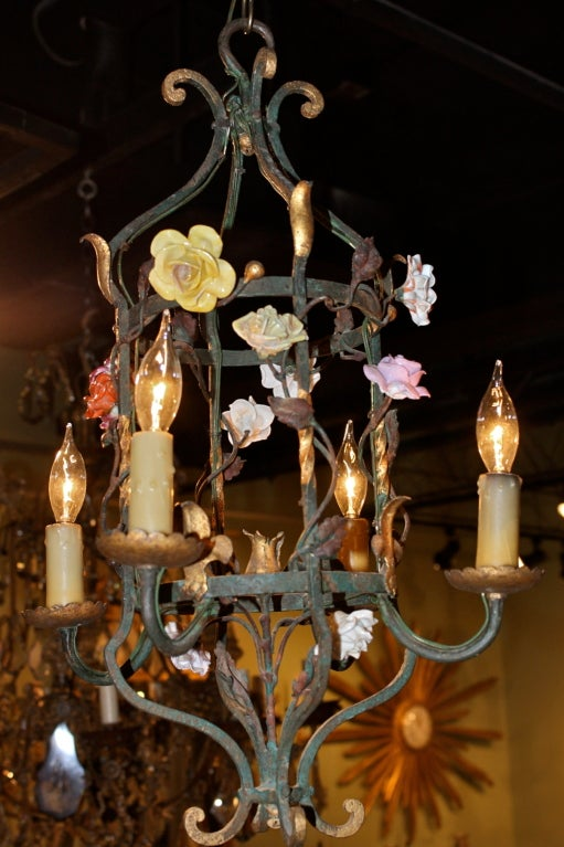Painted French Iron and Tole Leaf Lantern with Porcelain Flowers For Sale