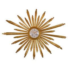 Large French Giltwood Cartel Sunburst Clock