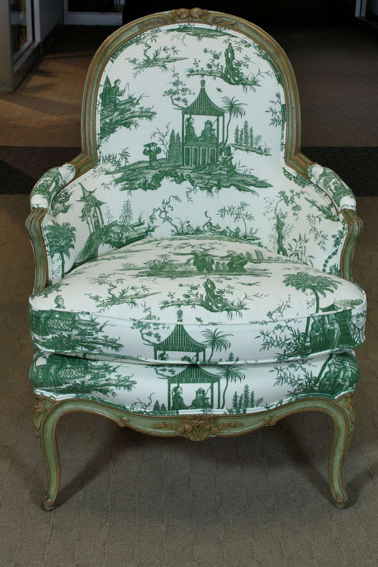 Louis Xv Period Bergere In Chinoiserie Toile For Sale At