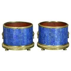 Pair of Large Lapis Lazuli Jardinieres