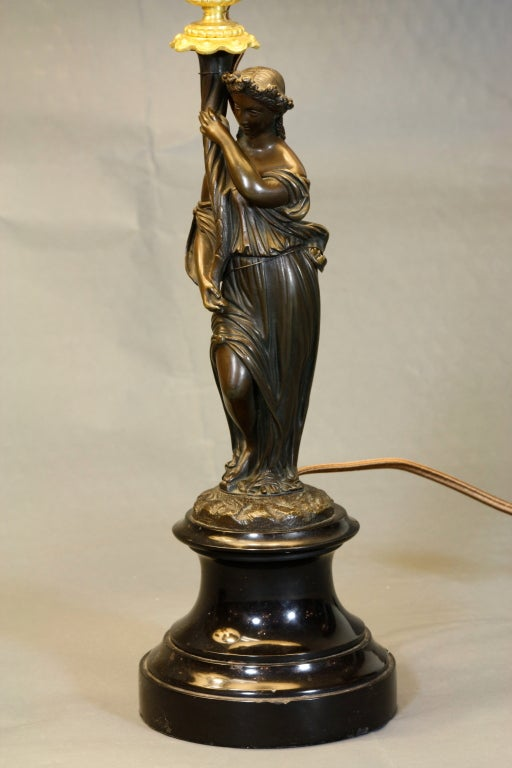 Pair of French Ormolu and Patinated Bronze Caryatid Lamps In Good Condition For Sale In Charleston, SC