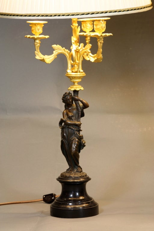 Pair of French Ormolu and Patinated Bronze Caryatid Lamps For Sale 1
