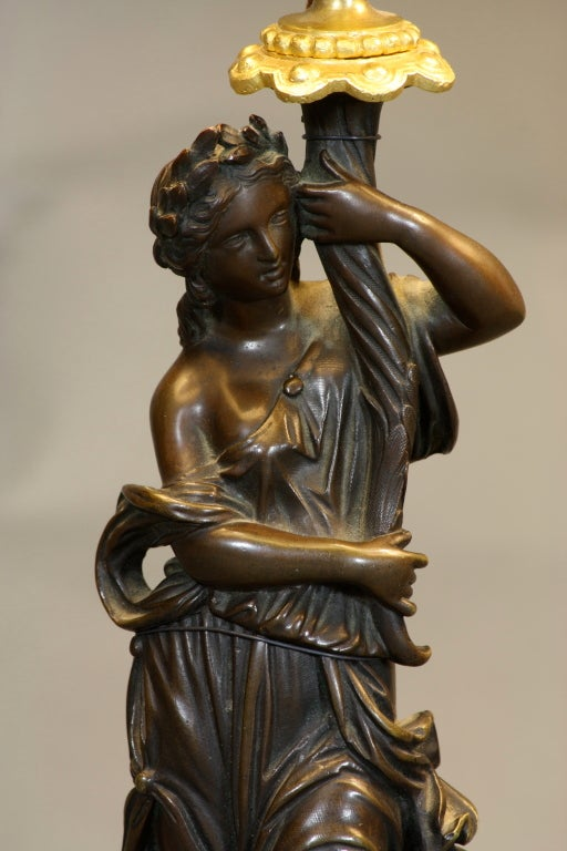 Pair of French Ormolu and Patinated Bronze Caryatid Lamps For Sale 2