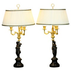 Pair of French Bronze Figural Lamps