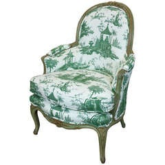 Louis XV Period Bergere in Chinoiserie Toile