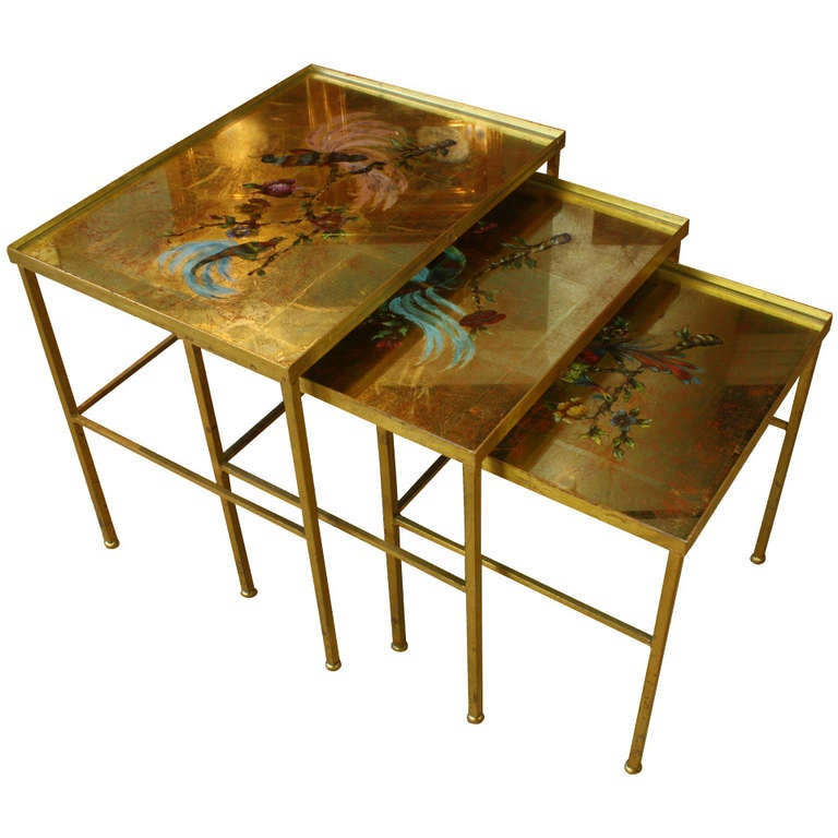Set of three maison bagues glass top nesting tables at 1stdibs for Glass top nesting tables