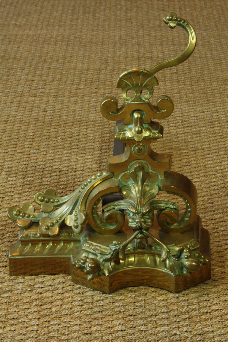 Pair of Fanciful French Dragon Chenets In Good Condition For Sale In Pembroke, MA