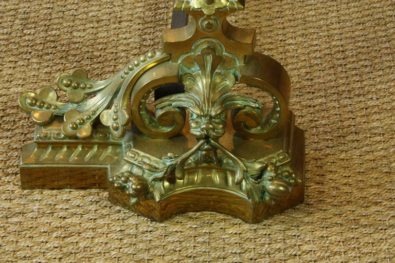 19th Century Pair of Fanciful French Dragon Chenets For Sale