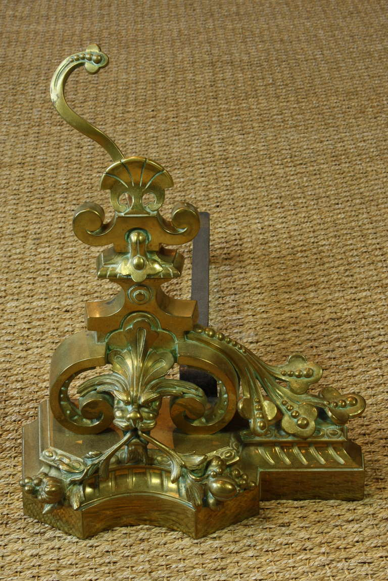 Brass Pair of French Baroque Style French Dragon Andirons For Sale