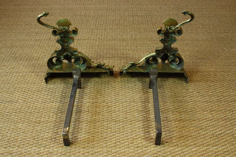 Pair of French Baroque Style French Dragon Andirons For Sale 4