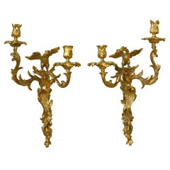 Pair of Gilt-Bronze Rococo Sconces with Birds by Maison Bagues