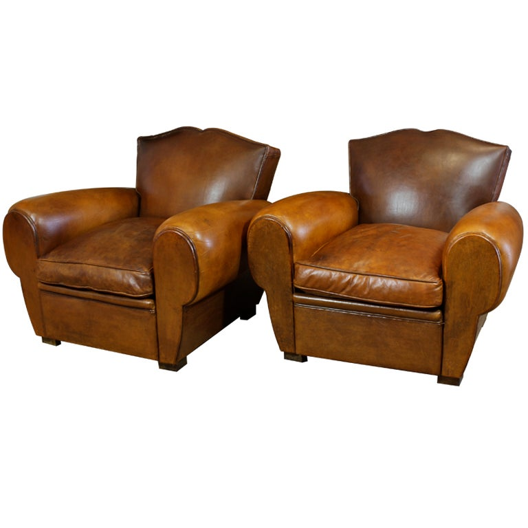 Pair Of French Mustache Back Leather Club Chairs At 1stdibs