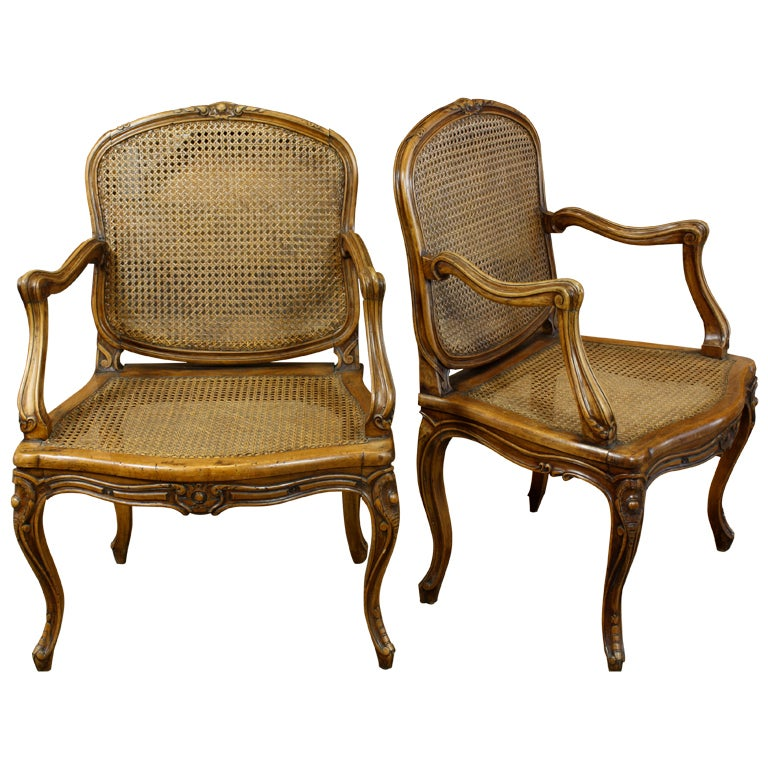 Pair Of French Louis Xv Style Caned Fauteuils At 1stdibs