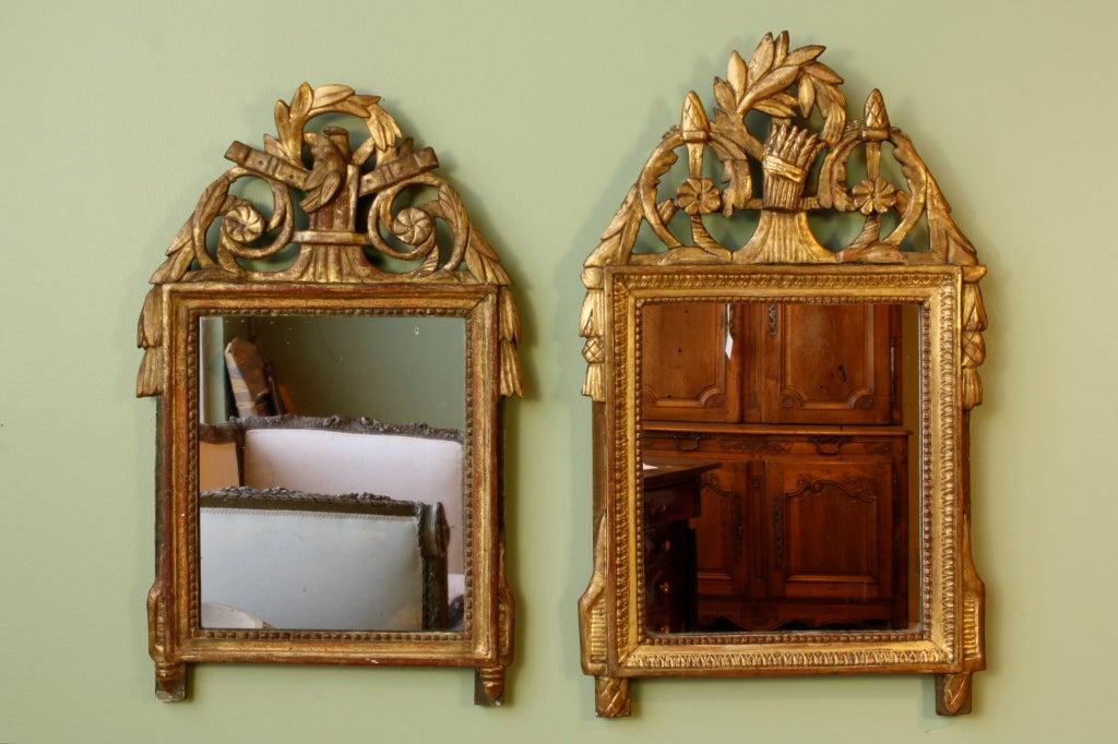 Petit Louis XVI Period Giltwood Trumeau Mirror For Sale 3