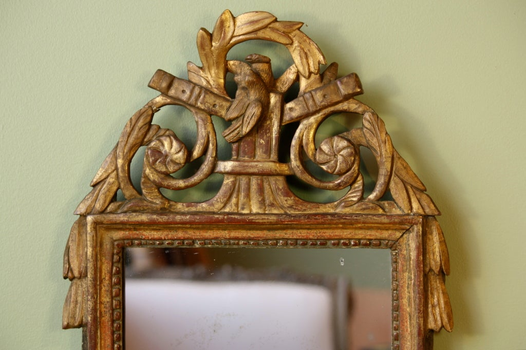 French Petit Louis XVI Period Giltwood Trumeau Mirror For Sale
