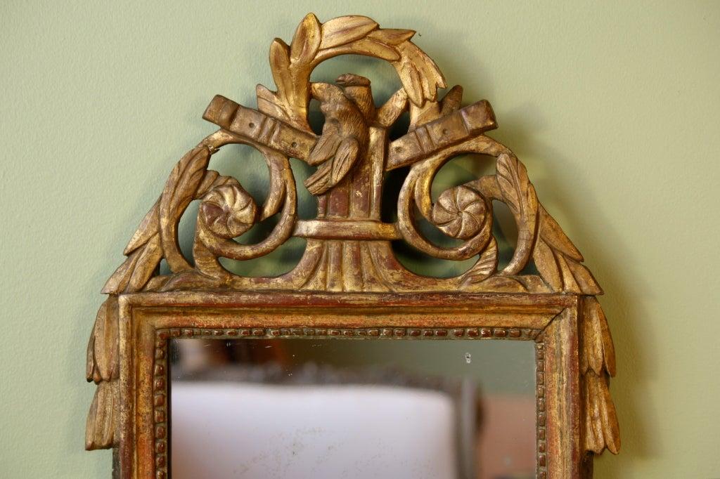 French Petit Louis XVI Period Giltwood Trumeau Mirror For Sale
