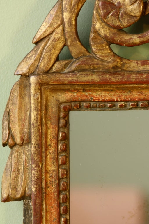Wood Petit Louis XVI Period Giltwood Trumeau Mirror For Sale