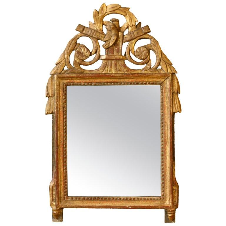 Petit Louis XVI Period Giltwood Trumeau Mirror For Sale