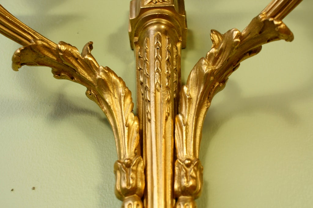 Pair of French Gilt Bronze Neoclassical Sconces For Sale 4