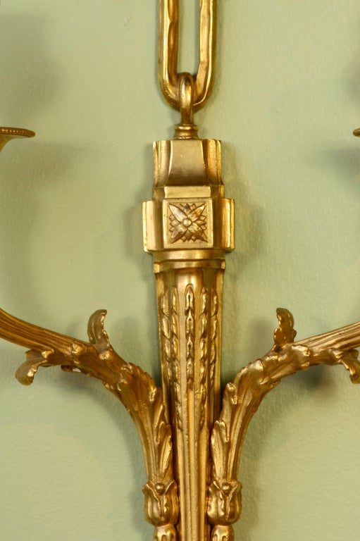 19th Century Pair of French Gilt Bronze Neoclassical Sconces For Sale