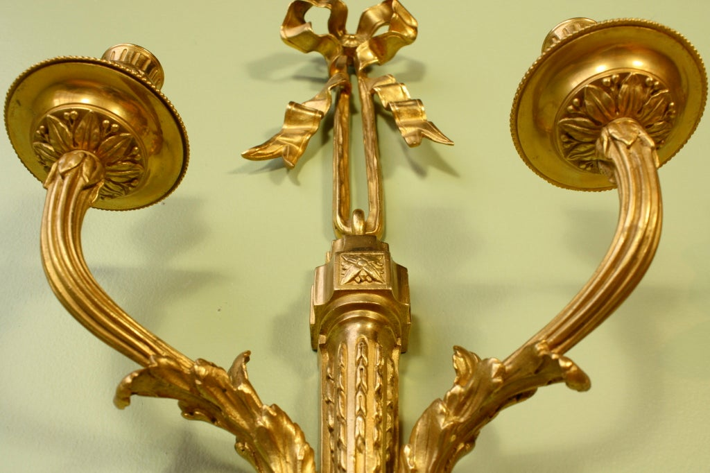 Pair of French Gilt Bronze Neoclassical Sconces For Sale 2