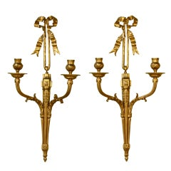 Pair of French Gilt Bronze Neoclassical Sconces
