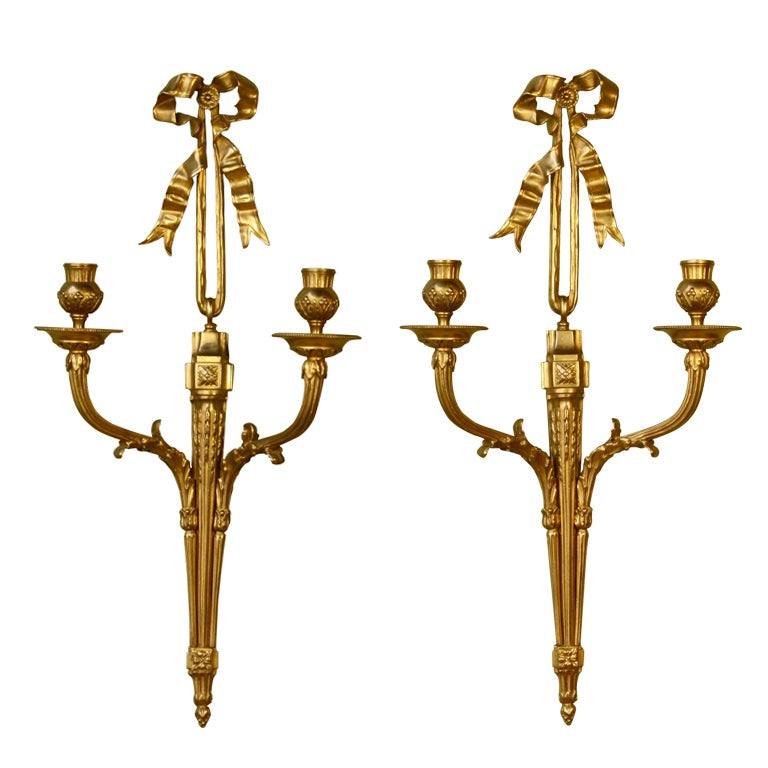 Pair of French Gilt Bronze Neoclassical Sconces For Sale