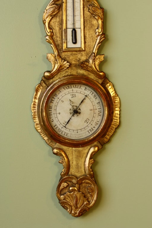 French Louis XV Period Gilded Barometer with Thermometer For Sale