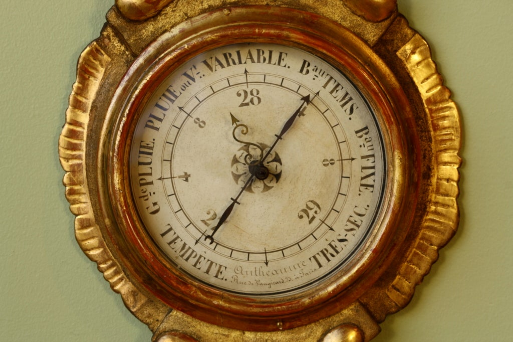 Louis XV Period Gilded Barometer with Thermometer In Good Condition For Sale In Pembroke, MA