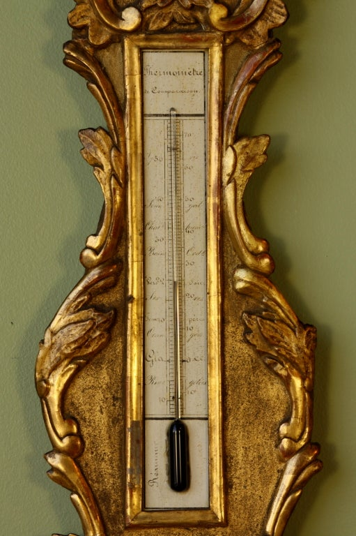 Louis XV Period Gilded Barometer with Thermometer For Sale 1
