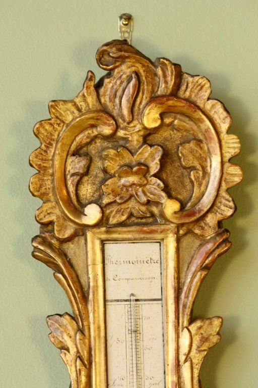 Louis XV Period Gilded Barometer with Thermometer For Sale 2