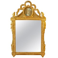 Louis XVI Period Giltwood Mirror with Marie Antoinette