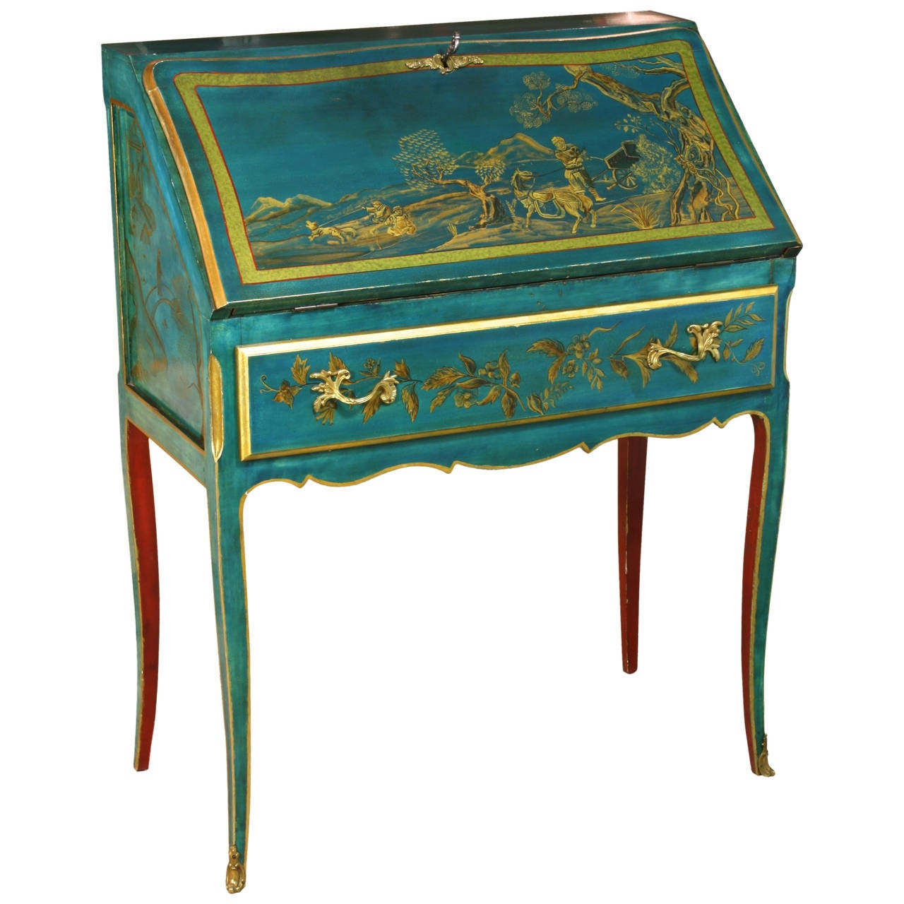 Louis XV Style Chinoiserie Slant-Top Desk For Sale